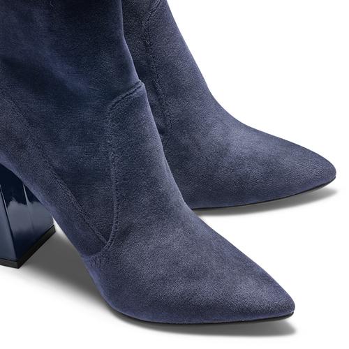 Tronchetti in velluto bata, blu, 799-9648 - 15