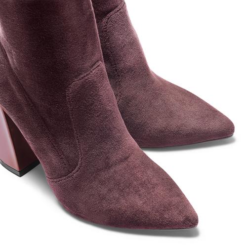 Tronchetti in velluto con tacco largo bata, rosso, 799-5648 - 15
