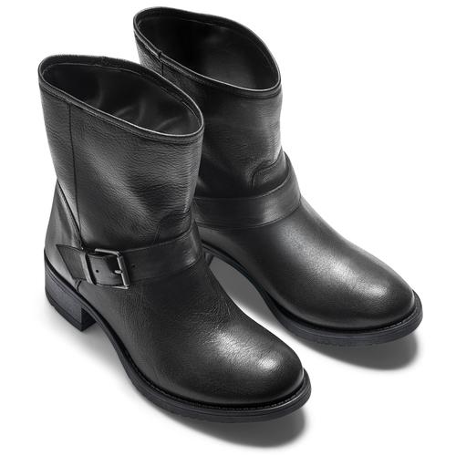 Ankle Boots in pelle con fibbia bata, nero, 694-6420 - 19