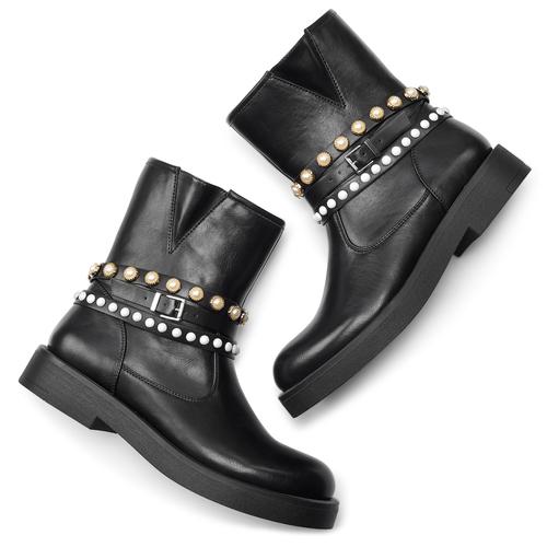 Stivaletti con perle bata, nero, 591-6145 - 19