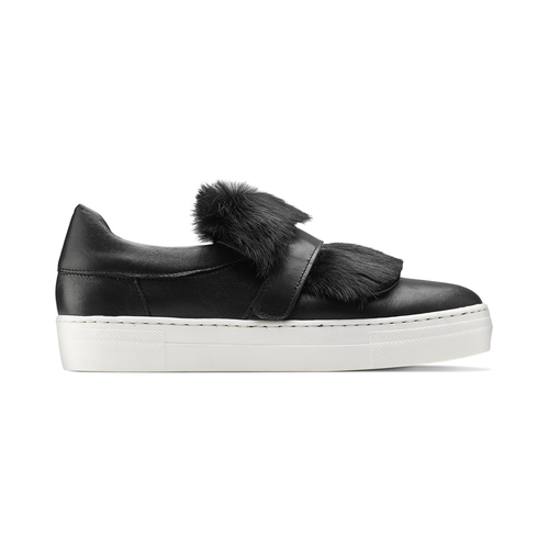 Sneakers in pelle e pelliccia north-star, nero, 544-6114 - 26