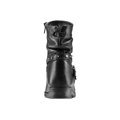 Stivaletti in pelle con borchie bata, nero, 594-6201 - 16