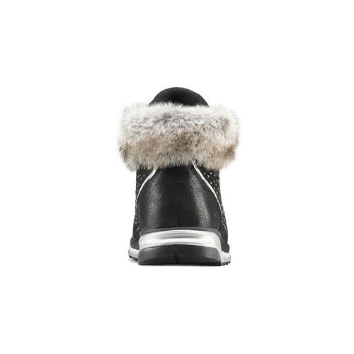 Scarpe bimba dettaglio pelliccia mini-b, nero, 329-6287 - 16