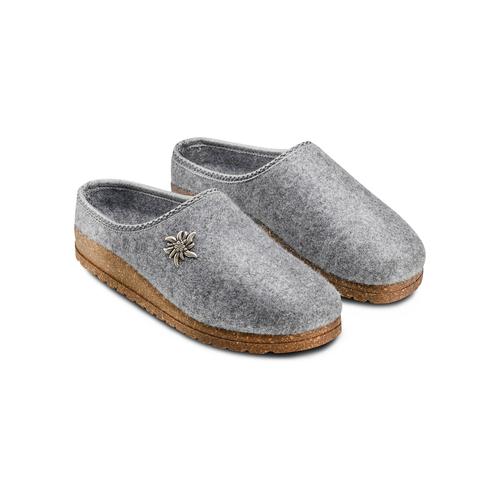Pantofole in lana cotta bata, grigio, 579-2420 - 16