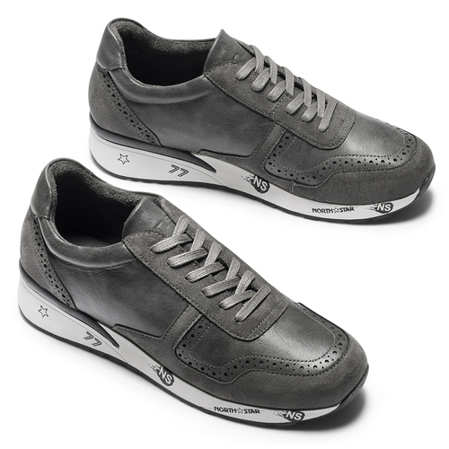 Sneakers da uomo con logo north-star, grigio, 841-2737 - 19