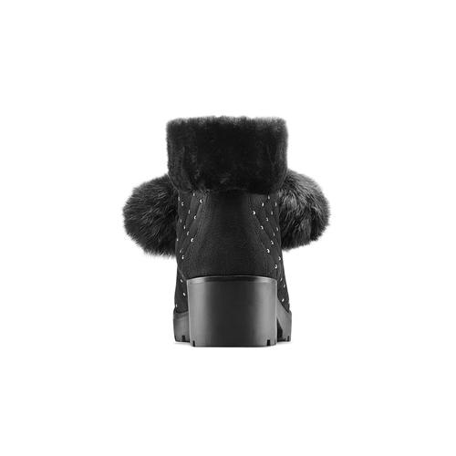 Stivaletti da donna con tacco e pom pon bata, nero, 699-6100 - 16