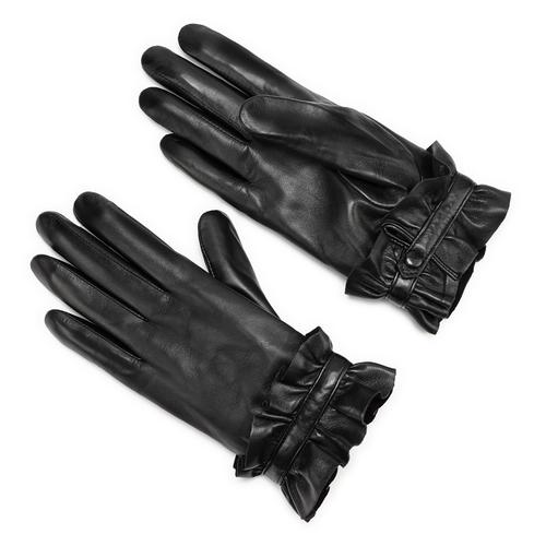 Guanti con rouches bata, nero, 904-6132 - 13