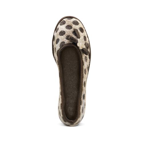 Pantofole da donna a pois bata, marrone, 579-4422 - 15