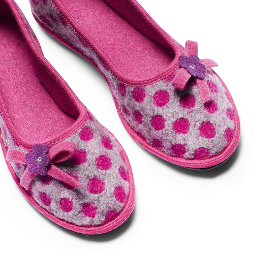 Pantofole in lana cotta a pois bata, rosso, 579-5422 - 19