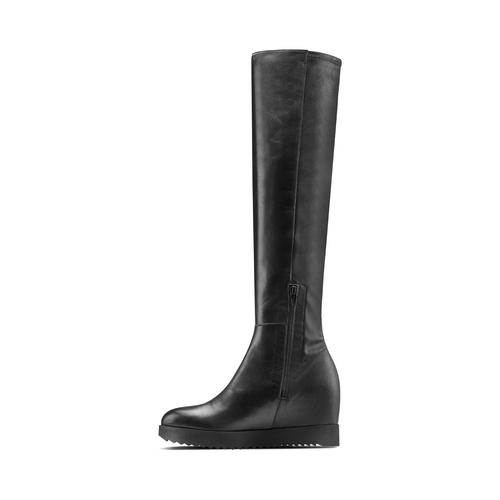 Stivali in pelle con zeppa interna bata, nero, 694-6222 - 16