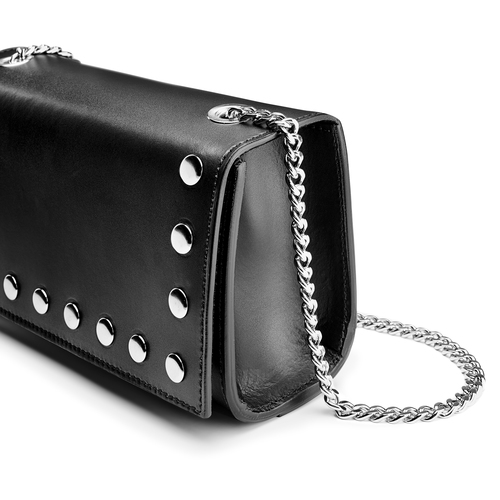 Tracolla in pelle con borchie bata, nero, 964-6277 - 15