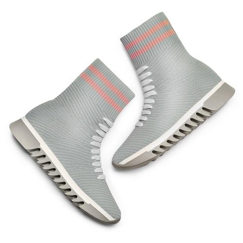 Sneakers calzino da donna bata, grigio, 549-2207 - 26