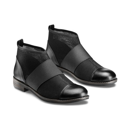 Ankle Boots con fasce elastiche bata, nero, 591-6550 - 16