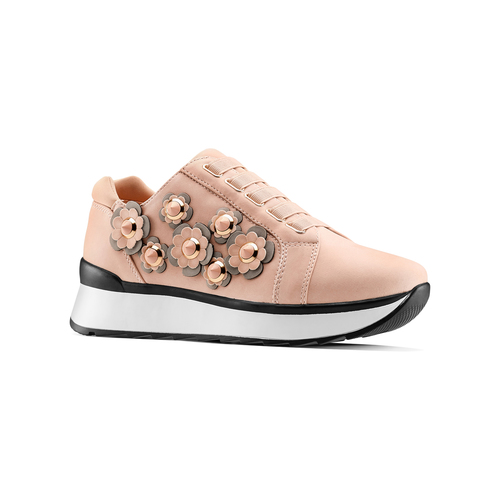 Sneakers basse con fiori applicati bata, 549-5165 - 13