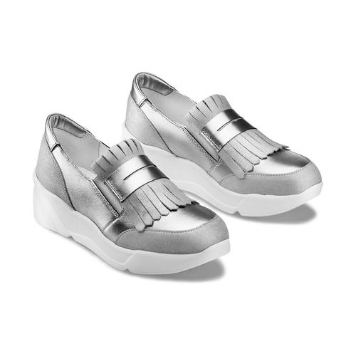 Sneakers con frange bata, grigio, 614-2131 - 16
