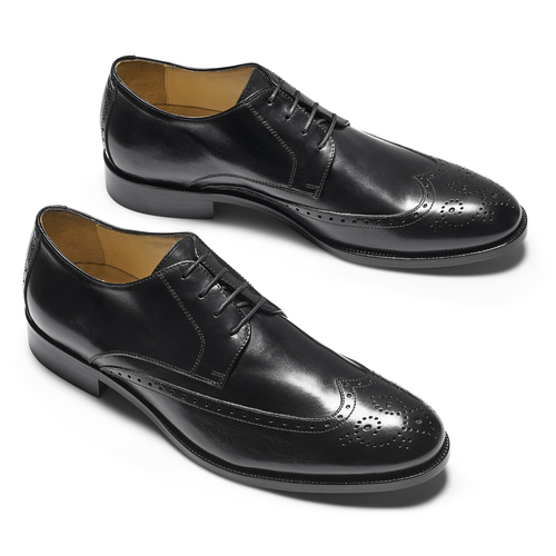Stringate in pelle con dettagli Brogue bata-the-shoemaker, nero, 824-6342 - 19