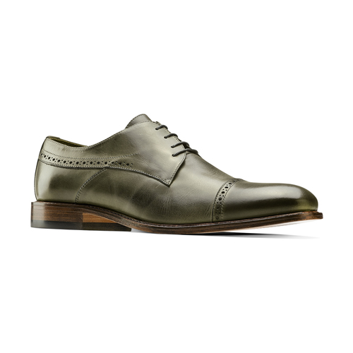 Stringate verdi in pelle bata-the-shoemaker, 824-2348 - 13