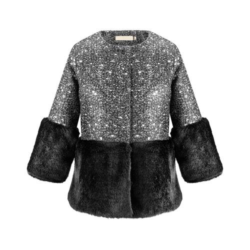 Cappotto con dettaglio in ecopelliccia bata, nero, 979-6241 - 13