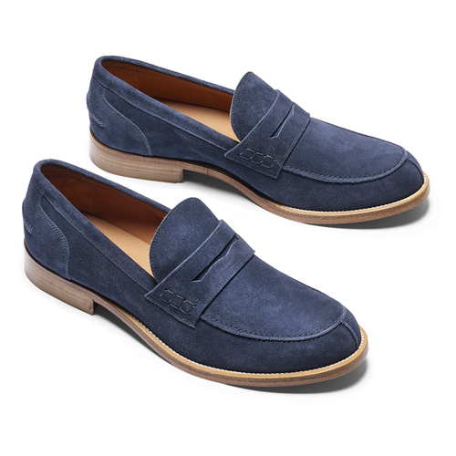 Mocassini in suede bata-the-shoemaker, blu, 813-9116 - 19