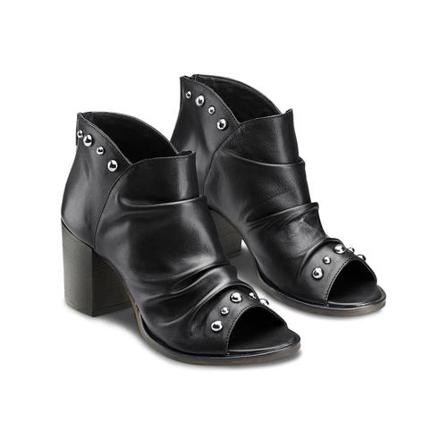 Sandali con effetto arricciato bata, nero, 724-6192 - 16
