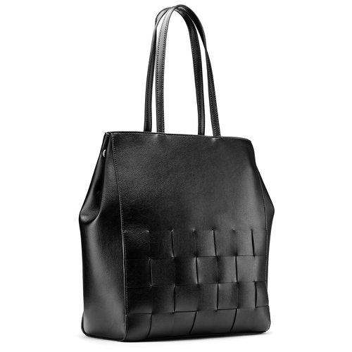 Shopper con intreccio bata, nero, 961-6236 - 13