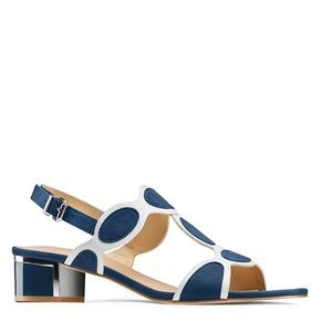 Sandali con tacco basso insolia, blu, 669-9297 - 13