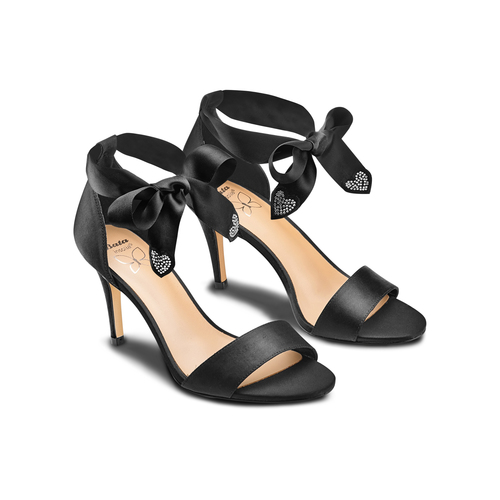 Sandali con fiocco insolia, nero, 769-6285 - 16