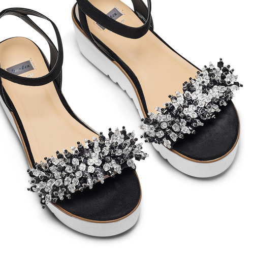 Sandali con perline bata, nero, 669-6283 - 26