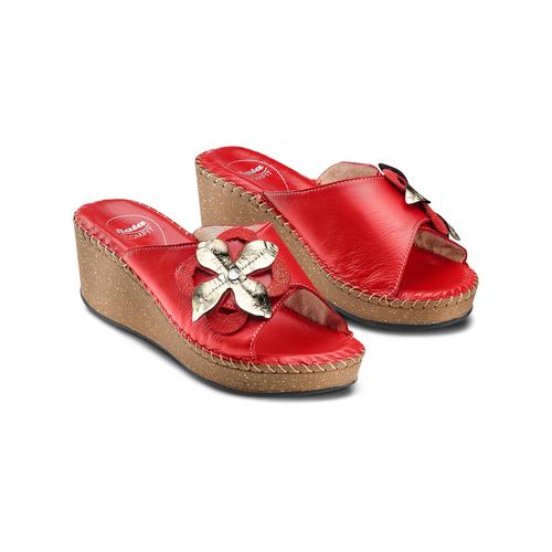 Ciabatte in vera pelle bata-comfit, rosso, 774-5107 - 16