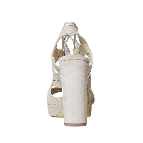 Sandali da donna in pelle con lacci bata, beige, 763-8580 - 17