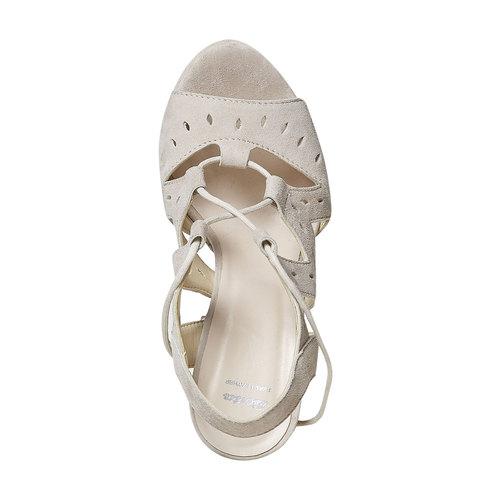 Sandali da donna in pelle con lacci bata, beige, 763-8580 - 19