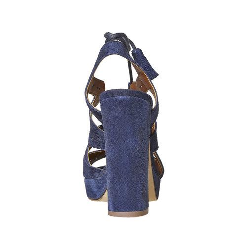 Sandali blu di pelle con tacco bata, blu, 763-9580 - 17