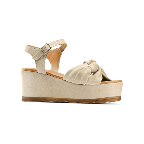 Da Donna Scholl Zeppe Sandali in Pelle UK 4 EUR 36 MarroneMarrone con fiocco materiale