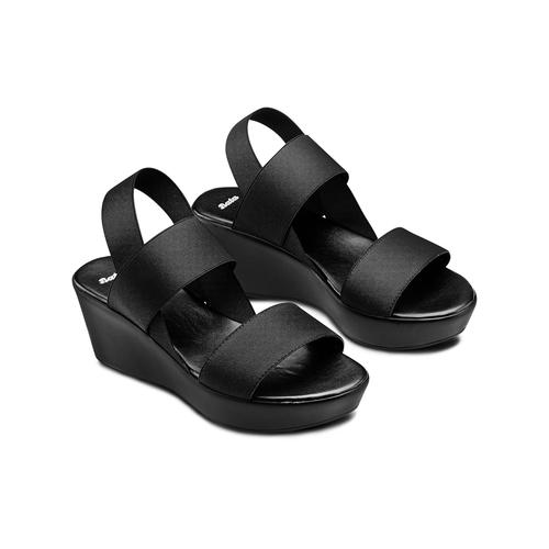 Sandali con fasce elastiche bata, nero, 779-6102 - 16