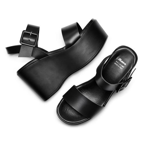 Sandali con zeppa bata, nero, 764-6445 - 26
