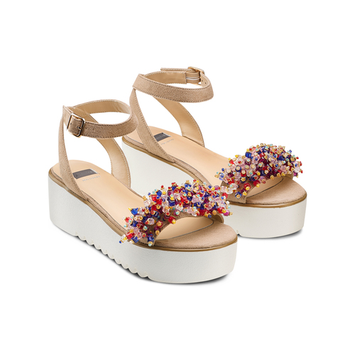 Sandali con applicazioni multicolore bata, beige, 669-8283 - 16