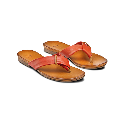 Infradito in pelle bata, arancione, 564-5321 - 16