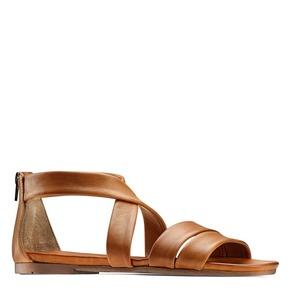 Sandali flat in pelle bata, marrone, 564-3327 - 13