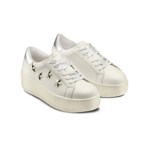 Sneakers platform con stelle bata, bianco, 541-1407 - 16
