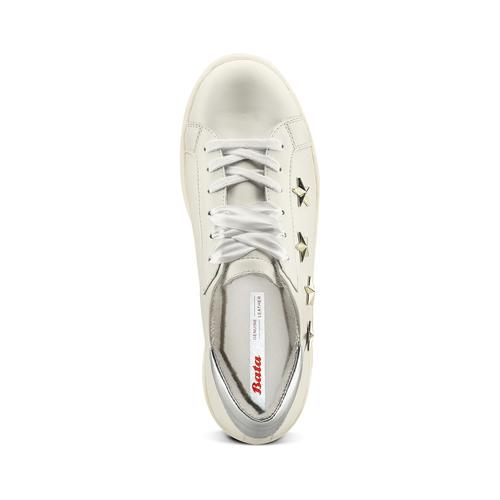 Sneakers platform con stelle bata, bianco, 541-1407 - 17